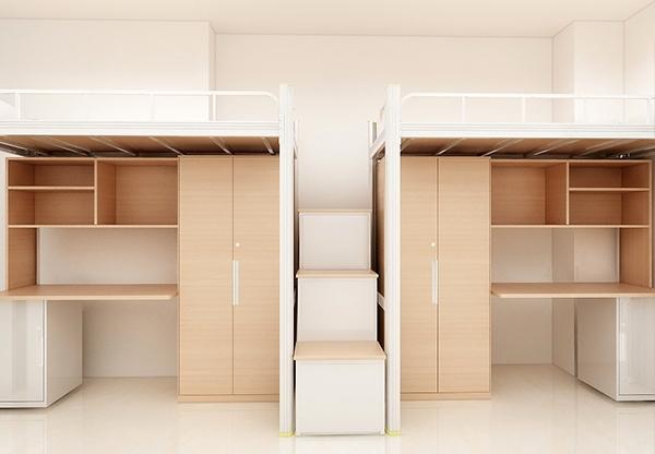 學校家具-鋼木二連體
